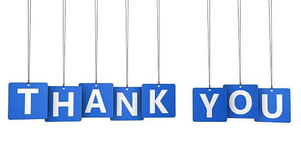Thank You Sign Blue Paper Tags